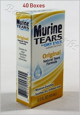 40x Murine Original Natural Tears Eye Drops For Dry Eyes Sealed Free Shipping