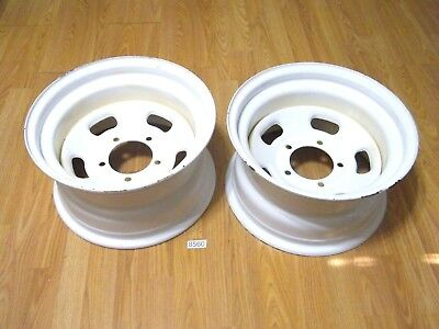 "2 NOS Indy Style Slotted White Steel Wheels 15x8 5 -5 1/2"" Ford Jeep IHC Mopar ?"