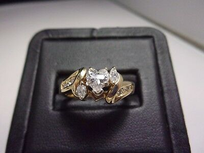 Heart Shape Diamond Solitaire Soldered with Diamond Wrap 14K Yellow Gold Size 6