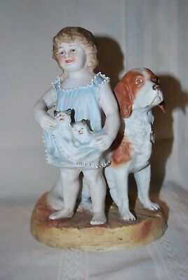 Antique German Bisque Figurine Piano Baby Girl with Cats Kittens Dog Puppy