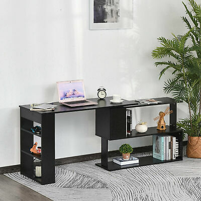 360° Rotating Corner Desk L-Shaped Study Writing Table Storage Shelf Black