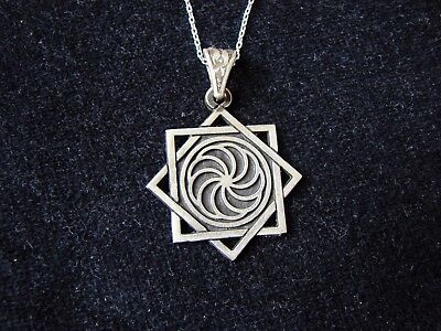 Pendant Eight pointed Star and Armenian Wheel of Eternity Sterling Silver 925