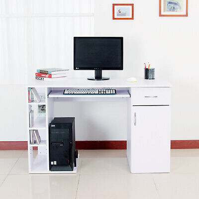 Computer Desk PC Writing Table Storage Shelves Drawer White