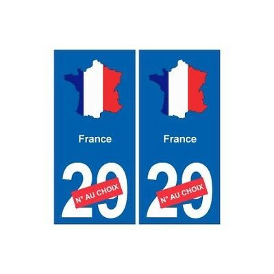 France carte drapeau autocollant sticker plaque immatriculation -  Angles : droi