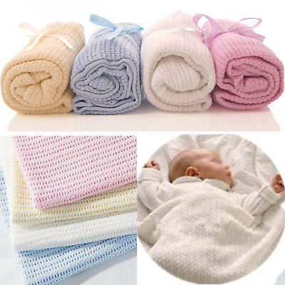 Baby Cellular Blanket Soft 100% Cotton Pram Cot Bed Moses Basket Crib 70 X 100Cm