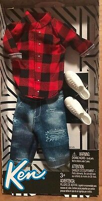 Barbie Doll Fashionistas Ken Boy Clothes Red Plaid Shirt Shorts Shoes Outfit New