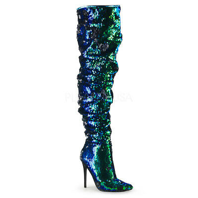 fd5937e55dfcb Stivali Donna Tacco 11 Plateau Green Iridescent Sequins Pleaser COURTLY-3011