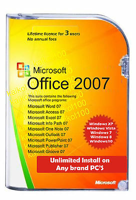 Microsoft Office 2007 full Word, Excel, PowerPoint, Outlook etc for Windows 7&10
