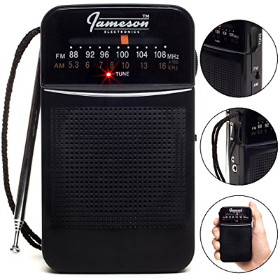 AM // FM Portable Pocket Radio with Best Reception - Small Battery Operated Per