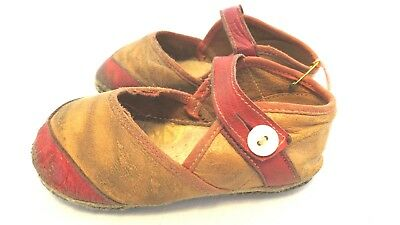 """Vintage Childrens Baby Shoes Leather Suede Glass Buttons Red Brown 4 1/2"""" Long"""