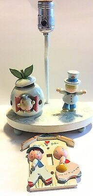 Vintage Wooden Children's Nursery Lamp And Light switch Cover