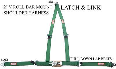 "Bolt In 2"" Latch Link Racing Harness Seat Belt V Roll Bar Mount Dark Green"