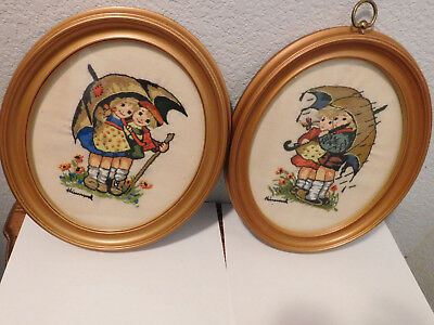Vintage: Set of 2-Hummel Children Umbrella Kids Rain Crewel Needle work framed
