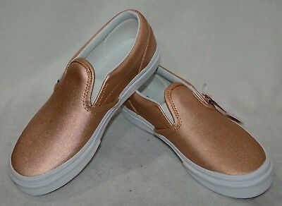 7ee2c9e85470 Vans Girl's Classic Metallic Leather Rose Gold Slip On Skate Shoes - Size 3  NWB