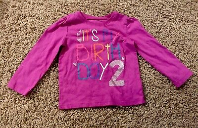 Girl Glitter Childrens Place Size 2T Happy Birthday Shirt 24 Months 2nd 2