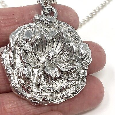 Arthur Court Necklace Aluminium Magnolia Flower 1.5in Jewelry 18 To 20in Chain