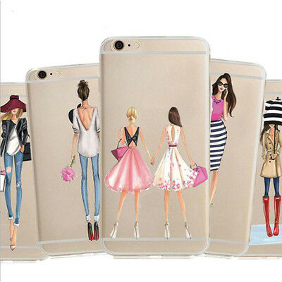 1Pcs Soft New Girl For iPhone Shopping Phone Silicon Case Shell Fashion Dress