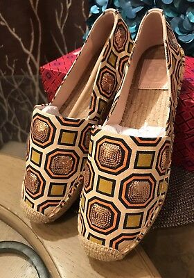 1e2d013be2b New Tory Burch flats Cecily Embellished Espadrille Octagon   Square Rose  Gold 8