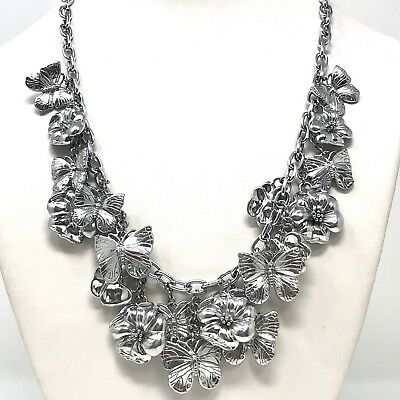 Arthur Court Signed Flower Butterfly Dangle Fringe 18 To 20in Necklace Aluminum