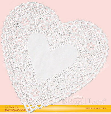 "8"" White Lace Heart Paper Doilies Royal Lace,(B23102) 12/PK"