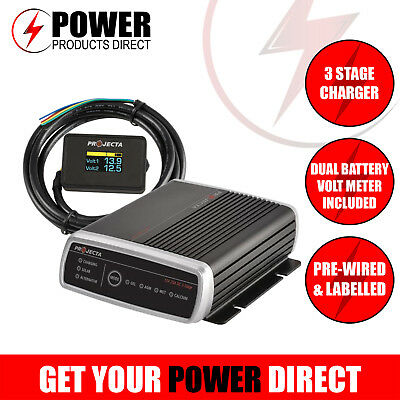 PROJECTA IDC25 V4 Dual Battery Charger + FREE DBM 100 Dual Battery Volt Meter