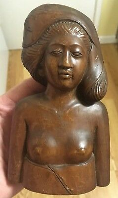 "Bali Sculpture Balinese Wood Carved Statue Woman Bust Figure Lady 6.5"" x 4"""