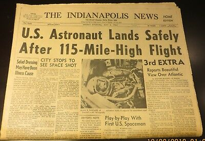 5/5/1961 Indiana Newspaper - Alan Shepherd, America's First Astronaut Lands Safe