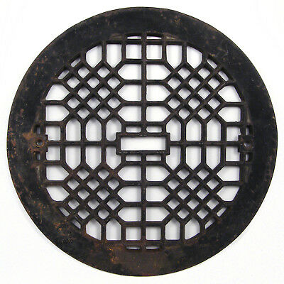 "Antique cast iron floor register heat heating vent grate | 9"" flue diameter"