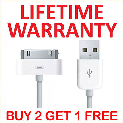 USB Charging Cable & Sync Charger Lead for Apple iPhone 4,4S,3GS,iPod,iPad2&1