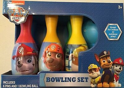 Paw Patrol Bowling Set Toy Game Kids Birthday Gift Toy 6 Pins &1 Ball - New