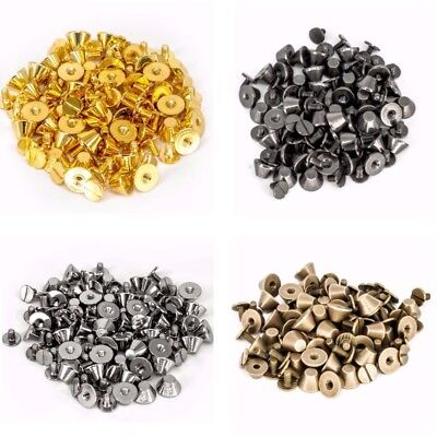 50 x Punk Spike Cone Screw Back Studs Brass Rivets Leather Crafts Belt DIY Beads