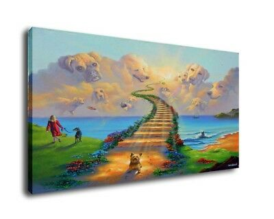 Jim Warren Art Oil Painting Print On Canvas Home Decor Dogs Go To Heaven