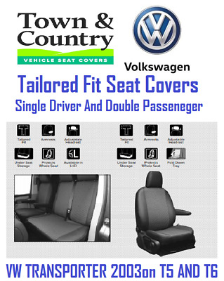Town & Country VW Transporter -T5 & T6 - Driver & Double Passenger Seat Covers