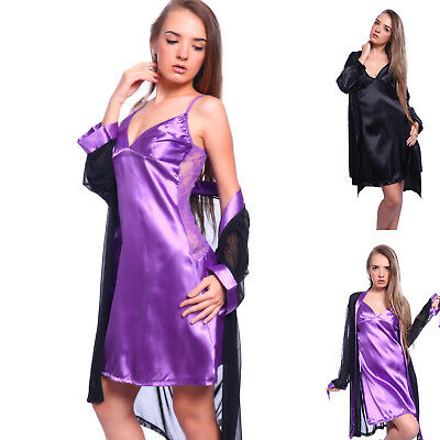 LUXURY  Ladies Silk Satin Dressing Gown Kimono Robe Night Dress