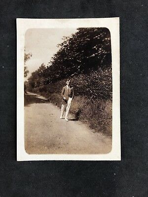 Vintage BW Real Photo #CS: c1920s: Smart Gent In Country Lane