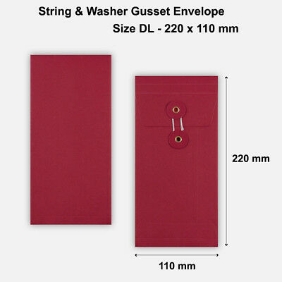 DL Size Quality String&Washer With Gusset Envelope Button & Tie RED