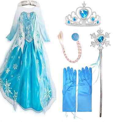 Frozen Dress Elsa Anna Princess Dress Kids Costume Party Fancy Snow Queen-