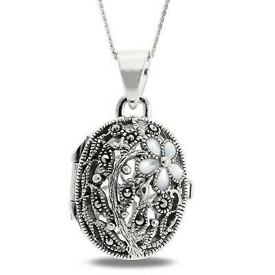 """925 Silver Large Oval Heavyweight Locket Pendant 18"""" Necklace Antique Victorian"""