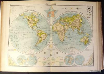 World Atlas Map Of Asia.Complete World Atlas Colored Universal Maps Leather Bound 1960 S