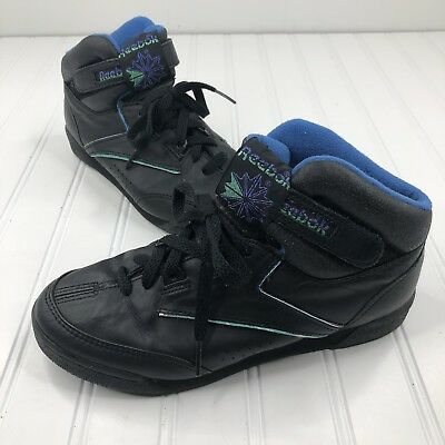 9852a3dd REEBOK CLASSIC HIGH TOP SNEAKERS VINTAGE RETRO 80s 90s WOMENS SIZE 6.5 BLACK