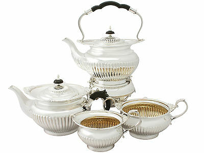 Four Piece Silver Tea Set Queen Anne Style Antique Edwardian