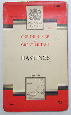 1965 old vintage OS Ordnance Survey one-inch seventh Series Map 184 Hastings