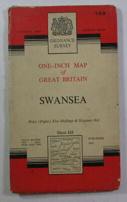 1960 Old Vintage OS Ordnance Survey One-inch Seventh Series Map 153 Swansea