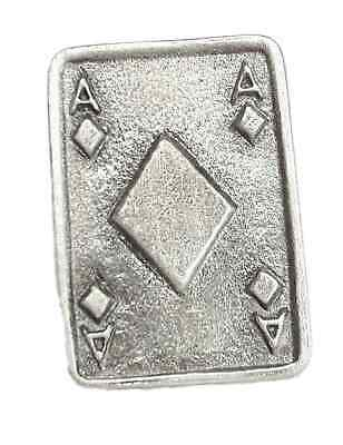 Ace of Diamonds Handcrafted From English Pewter Lapel Pin Badge Gift Bag