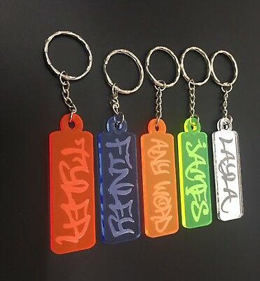 Personalised Frozen Keyring Keychain Gift Fluorescent Mirror Acrylic Graffiti
