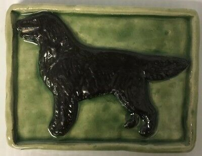 "Handmade Original 5"" x 4"" Flat Coated Retriever Relief Tile 3D Collectible"