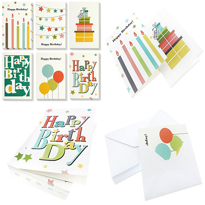 Birthday Card 48 Pack Cards Box Set Happy Bright Party Designs Bulk Envelopes In
