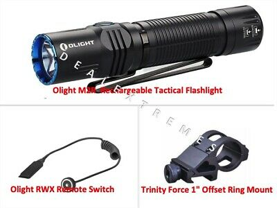 "Olight M2R Rechargeable LED Flashlight with Pressure Switch Plus 1"" offset Mount"