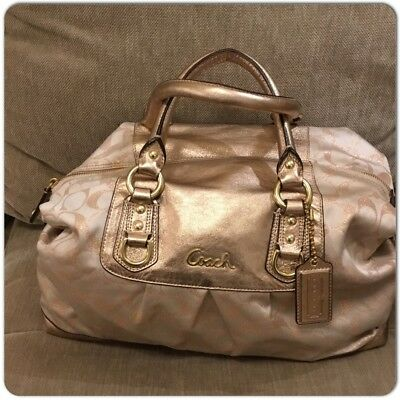 faf44cd585a Authentic COACH Signature Metallic Gold Hand Satchel Bag Canvas Leather  Trimmed