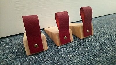 Handmade solid oak door stop wedge with real leather red coloured tab - doorstop